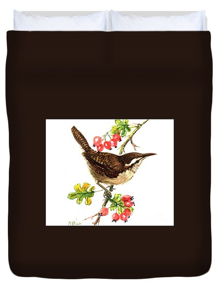 Wren And Rosehips Duvet Cover by Nell Hill