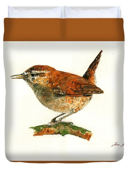 Wren Bird Art Painting Duvet Cover by Juan  Bosco