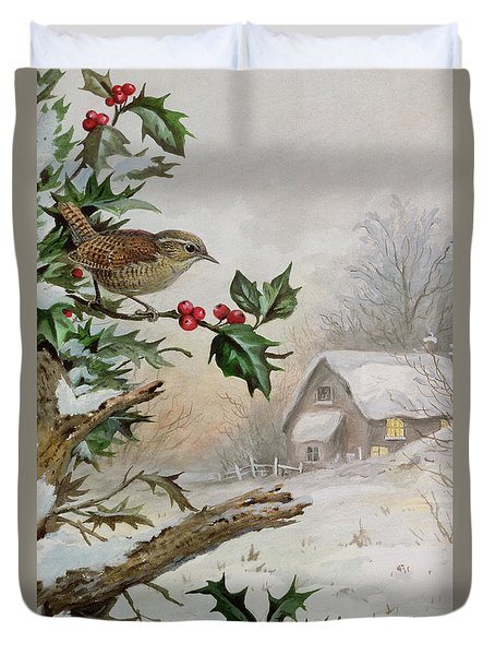 Wren In Hollybush By A Cottage Duvet Cover by Carl Donner