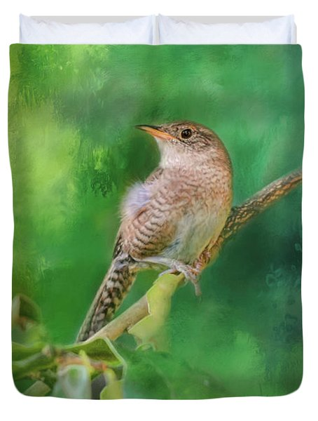 Wren In The Garden Bird Art Duvet Cover by Jai Johnson