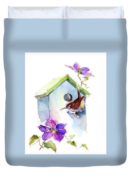 Wren With Birdhouse And Clematis Duvet Cover