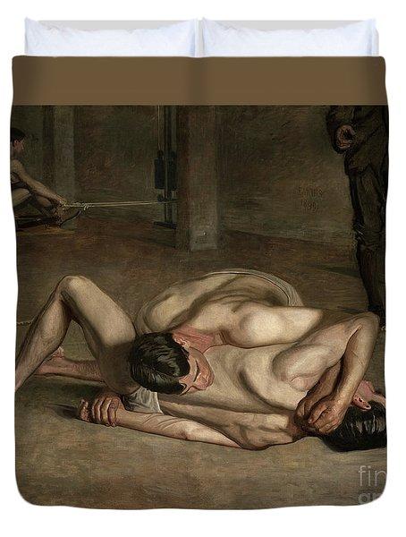 Wrestlers, 1899  Duvet Cover