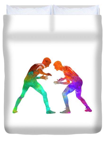 Wrestlers Wrestling Men 01 In Watercolor Duvet Cover