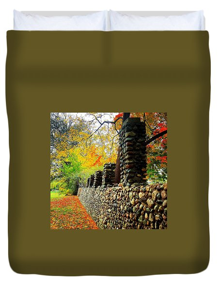 Wright Park Stone Wall In Fall Duvet Cover