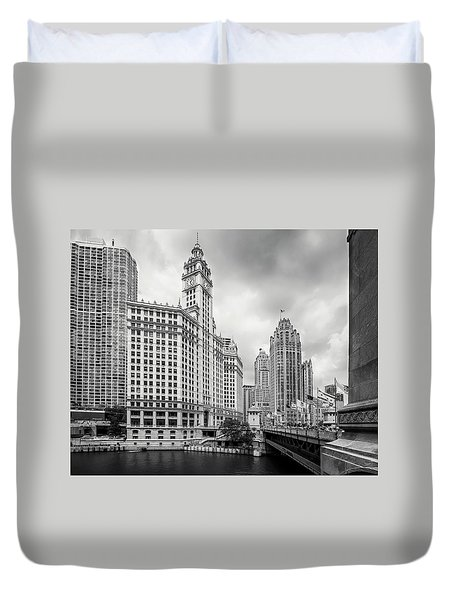 Duvet Cover featuring the photograph Wrigley Building Chicago by Adam Romanowicz