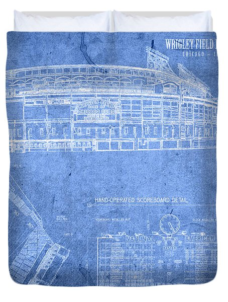 Wrigley Field Chicago Illinois Baseball Stadium Blueprints Duvet Cover by Design Turnpike