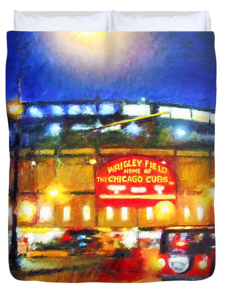 Wrigley Field Home Of Chicago Cubs Duvet Cover