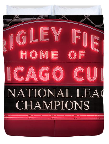 Wrigley Field Marquee Cubs Champs 2016 Front Duvet Cover