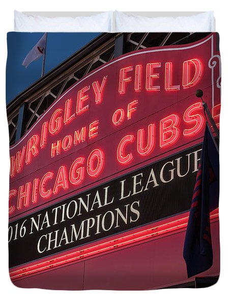 Wrigley Field Marquee Cubs National League Champs 2016 Duvet Cover by Steve Gadomski