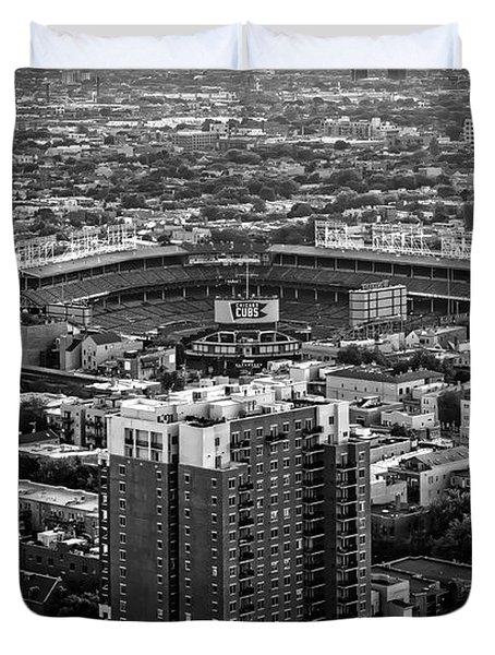Wrigley Field Park Place Towers Day Bw Dsc4575 Duvet Cover by Raymond Kunst