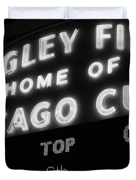 Wrigley Field Sign Black And White Picture Duvet Cover by Paul Velgos