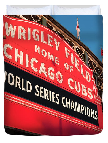 Wrigley Field World Series Marquee Angle Duvet Cover