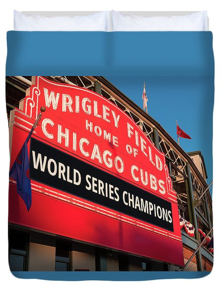Wrigley Field World Series Marquee Angle Duvet Cover by Steve Gadomski