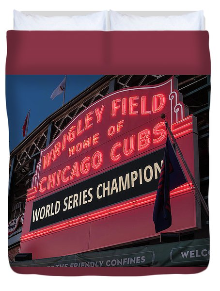 Wrigley Field World Series Marquee Duvet Cover by Steve Gadomski