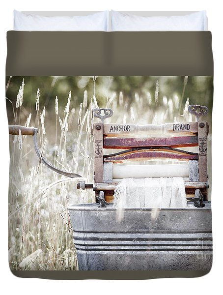 Wringer Washer - Retro Matte Duvet Cover by Angie Rea