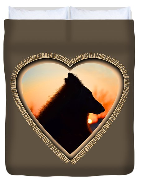 Wuffstar Happiness Is A Long Haired German Shepherd Heart Duvet Cover