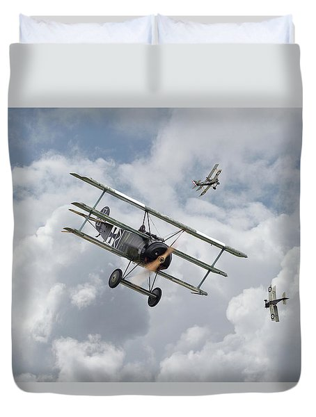Duvet Cover featuring the photograph Ww1 - Fokker Dr1 - Predator by Pat Speirs