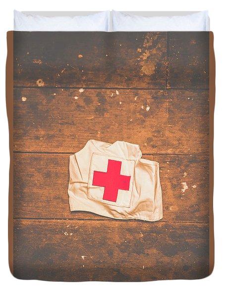 Ww2 Nurse Cap Lying On Wooden Floor Duvet Cover