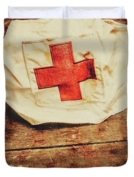 Ww2 Nurse Hat. Army Medical Corps Duvet Cover