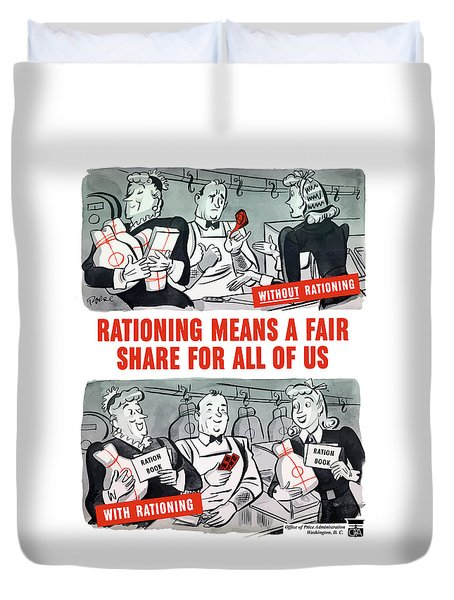 Ww2 Rationing Cartoon Duvet Cover