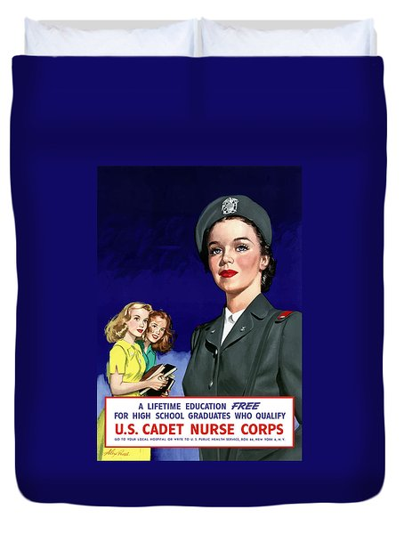Ww2 Us Cadet Nurse Corps Duvet Cover by War Is Hell Store