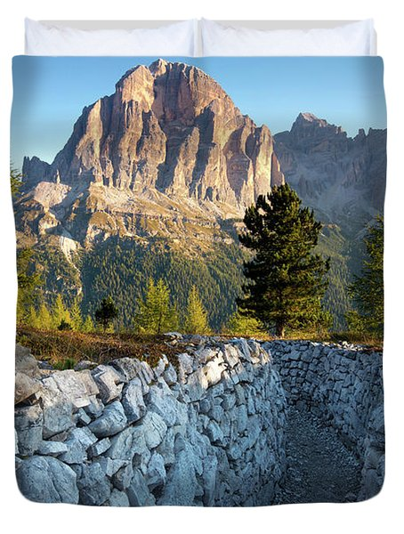 Wwi Trenches - Dolomites Duvet Cover by Brian Jannsen