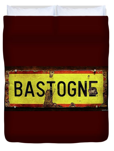 Wwii Bastogne Town Sign Duvet Cover