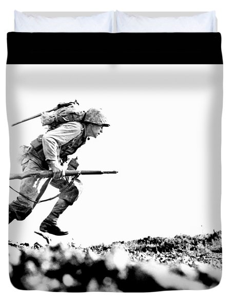 Wwii Marine Crosses Death Valley Okinawa Duvet Cover