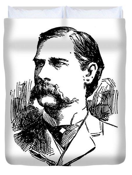 Duvet Cover featuring the mixed media Wyatt Earp Newspaper Portrait  1896 by Daniel Hagerman