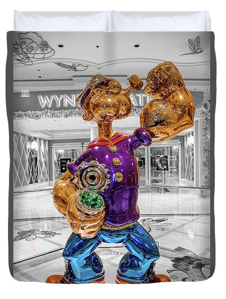 Wynn Popeye Statue Black White And Color By Jeff Koons Duvet Cover
