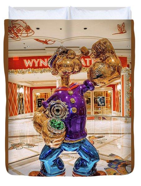 Wynn Popeye Statue By Jeff Koons Duvet Cover