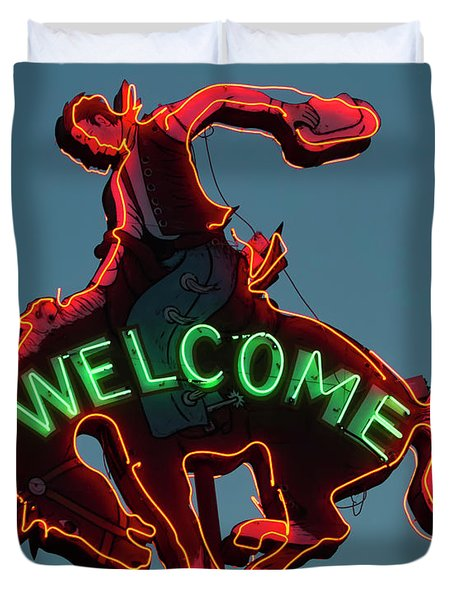 Duvet Cover featuring the photograph Wyoming Cowboy Vintage Neon Sign by Gigi Ebert