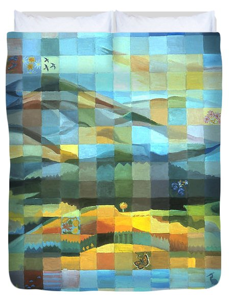 Duvet Cover featuring the painting Wyoming Quilt by Dawn Senior-Trask