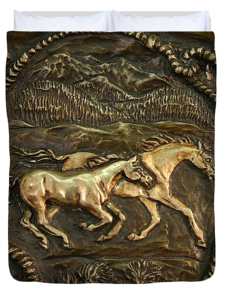 Duvet Cover featuring the sculpture Wyoming Ranch Horses by Dawn Senior-Trask