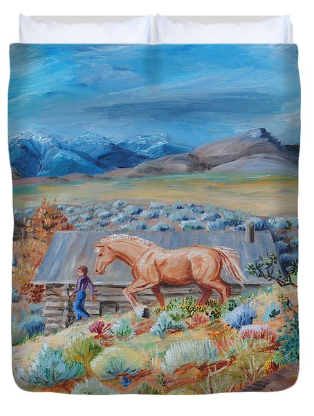 Wyoming Ranch Scene Duvet Cover