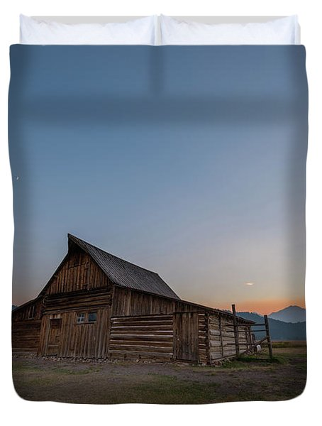 Wyoming Sunset At Mormon Row Duvet Cover