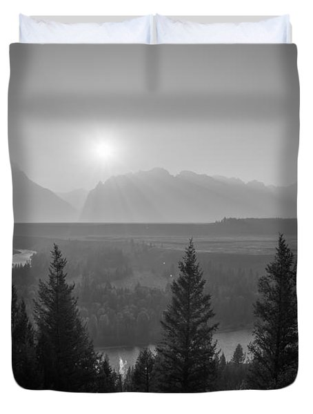 Wyoming Sunset At Snake River Bw Duvet Cover