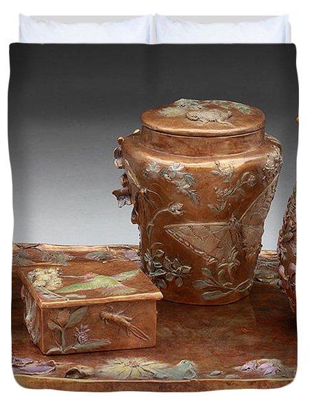 Wyoming Wildflowers Bronze Set Duvet Cover by Dawn Senior-Trask