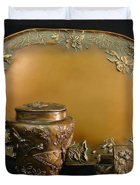 Wyoming Wildflowers Bronzes Duvet Cover by Dawn Senior-Trask