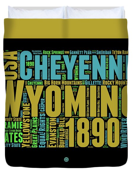 Wyoming Word Cloud Map 1 Duvet Cover