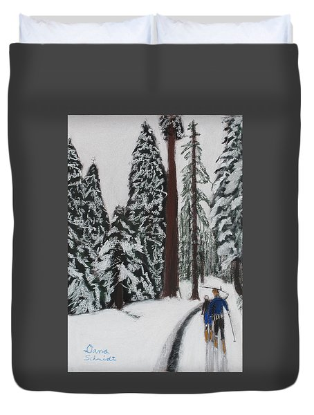 X-c Skiing In The Ca Redwoods 14 Years Ago Duvet Cover