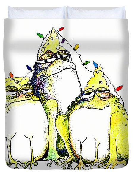 Xmas Lights Duvet Cover by Pat Saunders-White