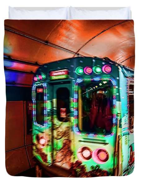 Xmas Subway Train Duvet Cover
