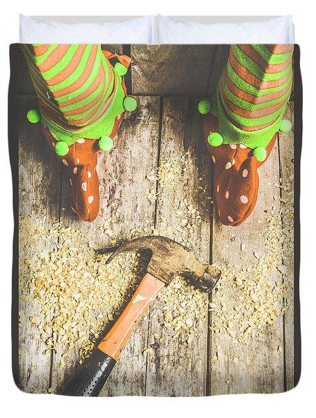 Xmas Workshop Elf Duvet Cover by Jorgo Photography - Wall Art Gallery
