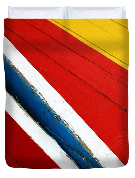 Xochimilco Boat Abstract 1 Duvet Cover by Skip Hunt