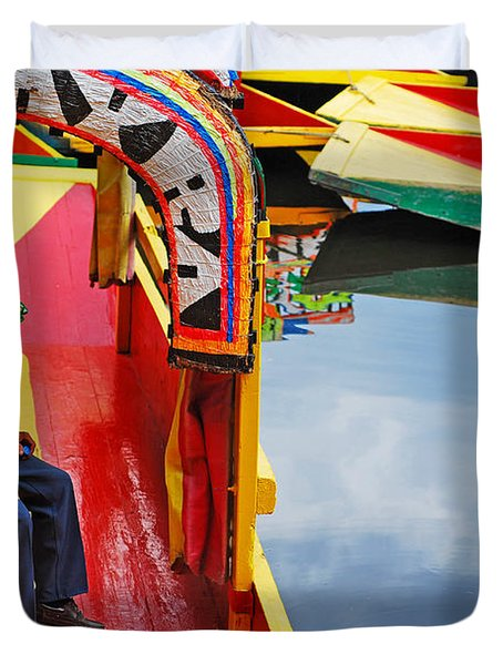 Duvet Cover featuring the photograph Xochimilco by Skip Hunt
