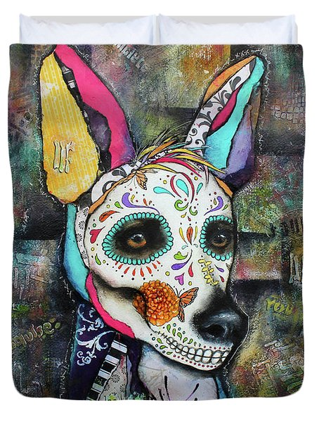 Duvet Cover featuring the mixed media Xolo Mexican Hairless Day Of The Dead by Patricia Lintner