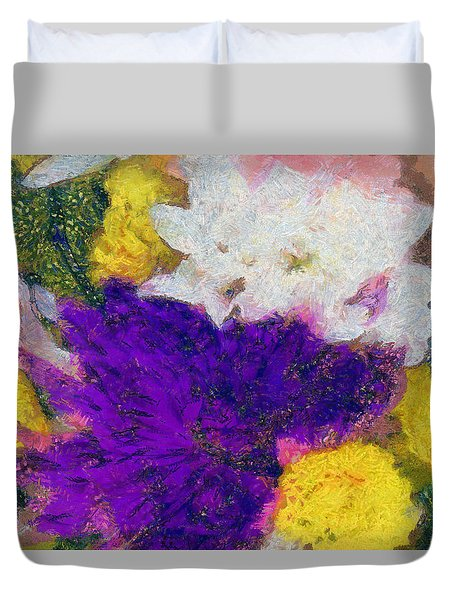 Xtreme Floral Eleven Purple And White Duvet Cover