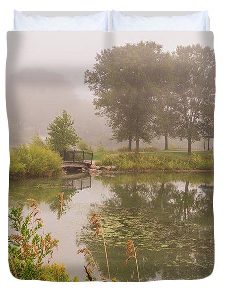 Misty Pond Bridge Reflection #5 Duvet Cover