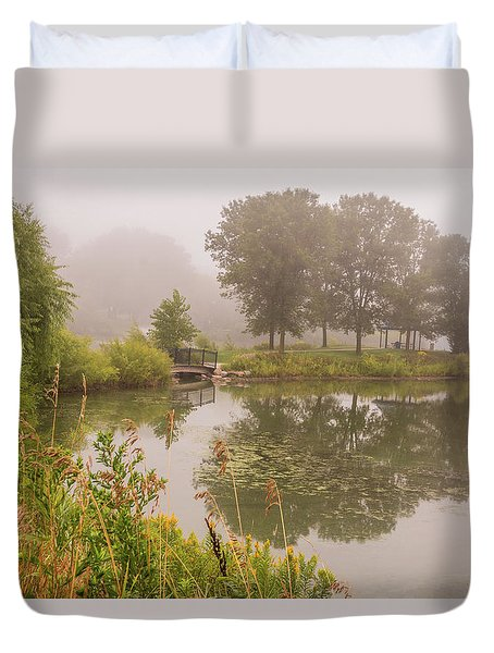 Duvet Cover featuring the photograph Misty Pond Bridge Reflection #5 by Patti Deters